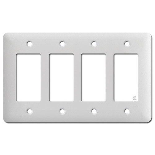Tall 4 Decor Electrical Switchplate - White Textured