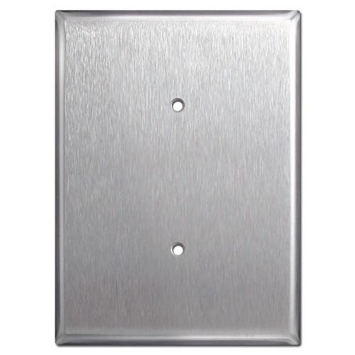 "Ultra 7.5"" Jumbo 1 Blank Electrical Trim Plate - Stainless Steel"