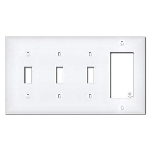 White Plastic 1 Rocker 3 Toggle Switchplate Cover
