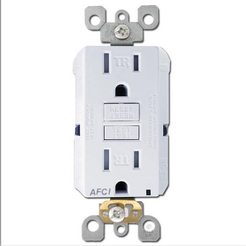 15A AFCI Outlet Leviton Decora Tamper Resistant - White