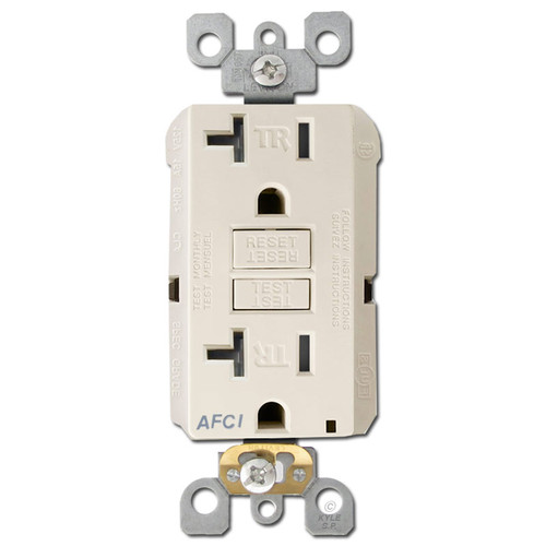 Arc Fault Outlet 20A Leviton Decora TR - Light Almond