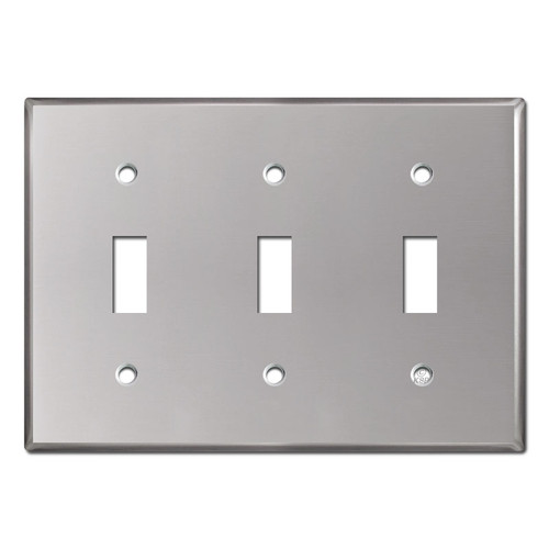 3 Toggle Switch Plate Cover - Polished Stainless Steel