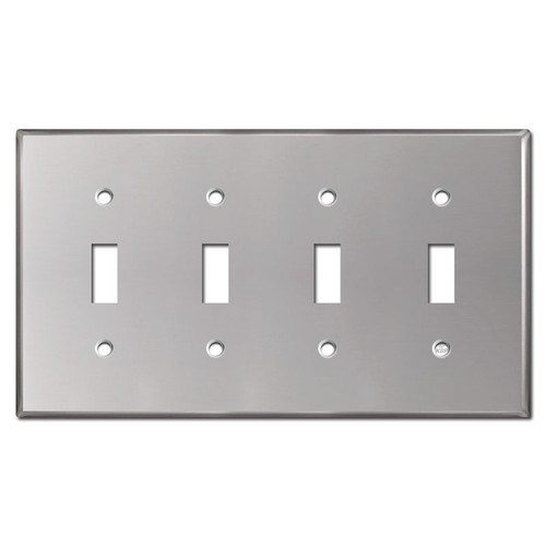 4 Toggle Electrical Wall Plate Covers - Polished Stainless Steel