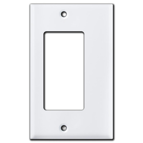 """Narrow 1/4"""" Trimmed Rocker GFCI Outlet Wall Plate - White"""