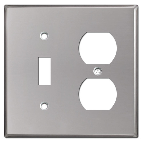 1 Outlet 1 Toggle Combo Wallplates - Polished Stainless Steel