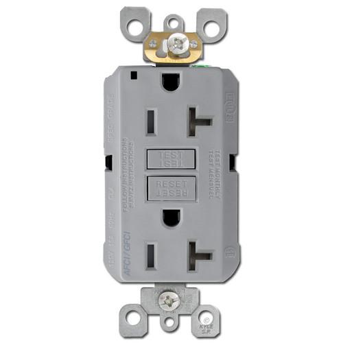 GFCI AFCI Outlet Dual Function 20A TR Leviton - Gray