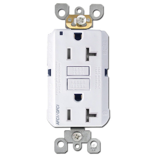 Arc Ground Fault Dual Function Outlet 20A TR Leviton - White