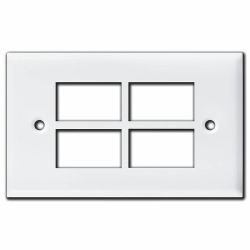 4 Switch New Style GE Low Voltage Switchplate - White