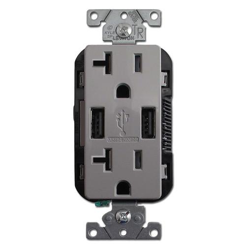 Dual USB Charger Duplex Receptacle 20A TR Leviton - Gray