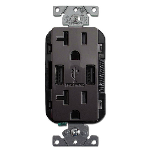 Dual USB Charging Ports + 20A Outlet Plugs Leviton - Black