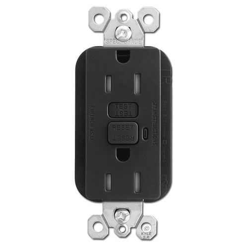 Black 15A Tamper Proof GFCI Receptacles