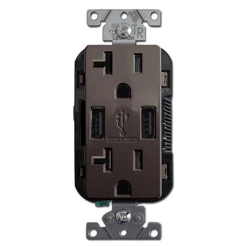 USB Wall Receptacle 2 Port Duplex Outlet 20A TR Leviton - Brown