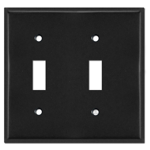 Narrow 2 Toggle Switchplate Cover - Black