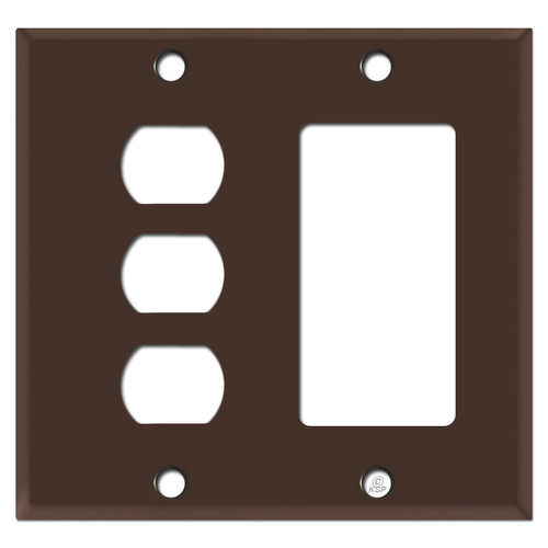 3 Sideways Despard Switch  & GFCI Rocker Wall Plate - Brown