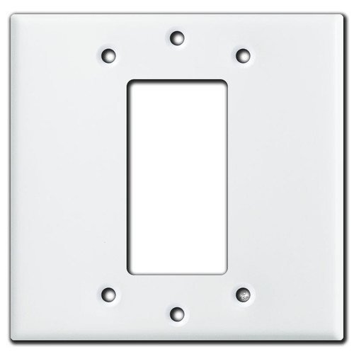 2-Gang Center Install 1 Decora Cover Wall Plate - White