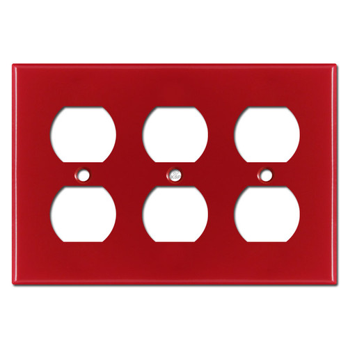 3 Duplex Electrical Receptacle Wall Plate - Red