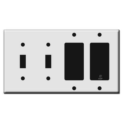 Plastic 2 Rocker 2 Toggle Electrical Light Switch Covers