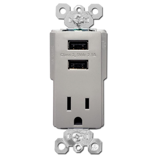 Dual USB Charging Outlets + 15A Electrical Plug - Gray