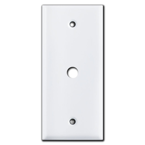 """Narrow 2"""" Coaxial .375"""" Cable Jack Wallplate Cover - White"""