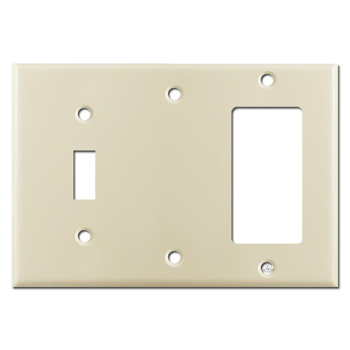 1 GFCI Rocker 1 Blank 1 Toggle Switchplate - Ivory