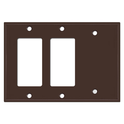 Blank + 2 Decor Rocker GFCI Outlet Switchplate - Brown