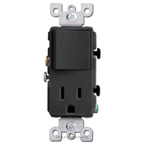 3-Way Decora Switch + 15A Receptacle Leviton - Black