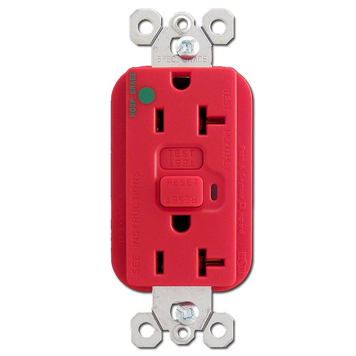Red Hospital Grade 20 Amp GFCI Outlet