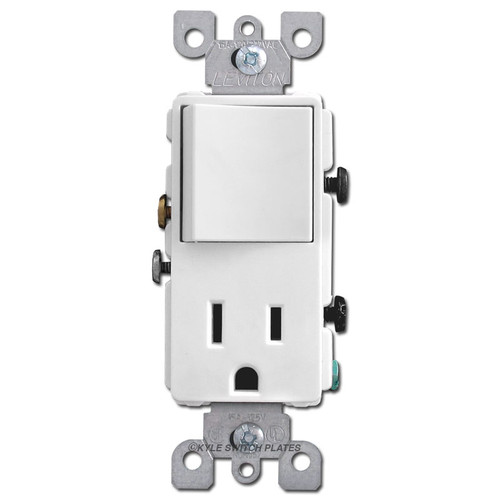 Leviton 15A Socket + 3-Way Rocker Switch - White