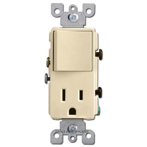 Stacked 15A Outlet + 3-Way Decora Switch - Ivory