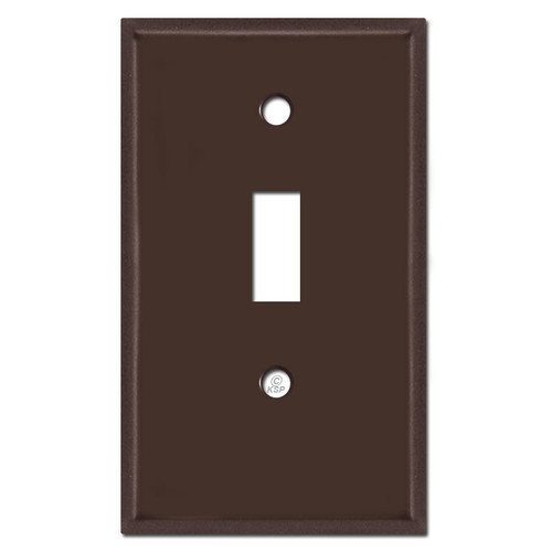 Half Short Single Toggle Light Switchplate - Brown