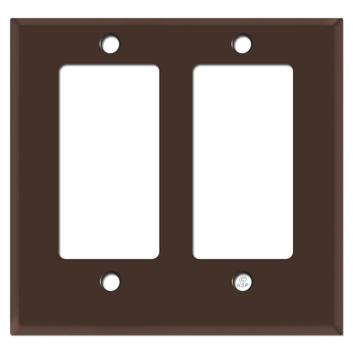 Half Trimmed Short 2 Decor GFCI Wall Switchplate - Brown