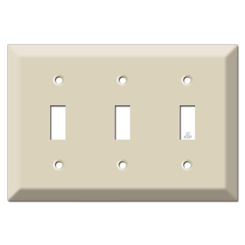 Deep 3 Toggle Wall Switchplate - Ivory