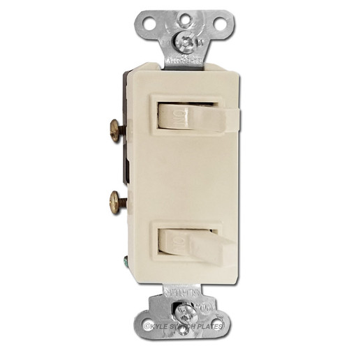 Decor Stacked Sideways Toggle Switches - Light Almond