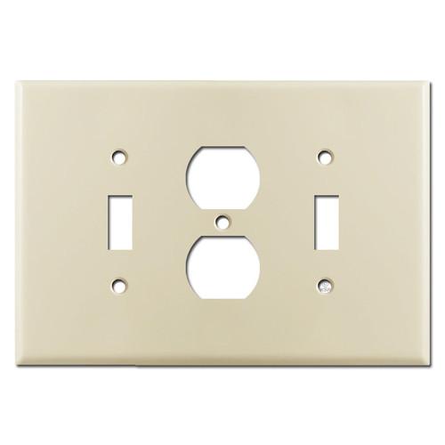 Jumbo 1 Toggle 1 Duplex 1 Toggle Switch Wall Plate - Ivory