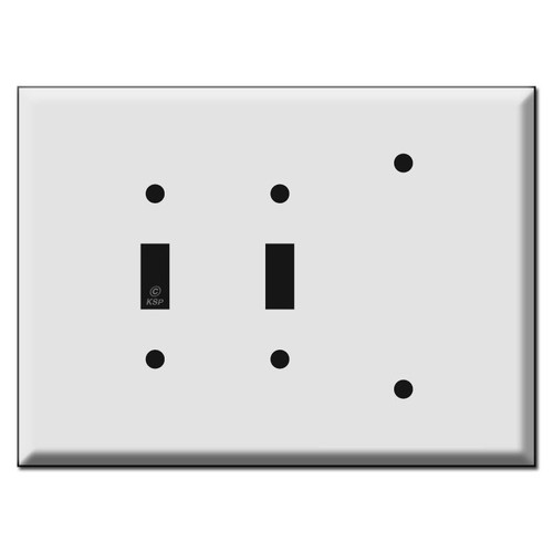 Oversized 2 Toggle 1 Blank Electrical Wall Switch Plate