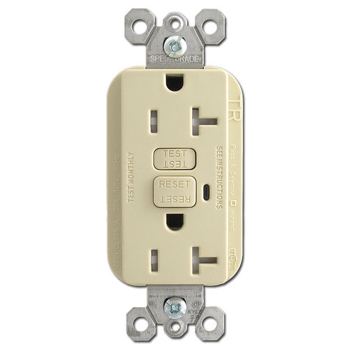 Tamper Resistant Ivory 20A GFCI Receptacle
