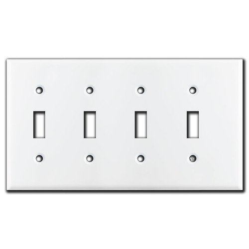 1/4'' Offset Narrow 4 Toggle Wall Plate - White