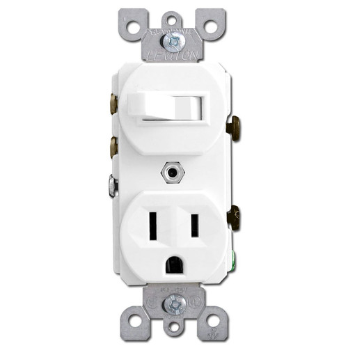 Stacked Outlet + 3-Way Switch Leviton - White