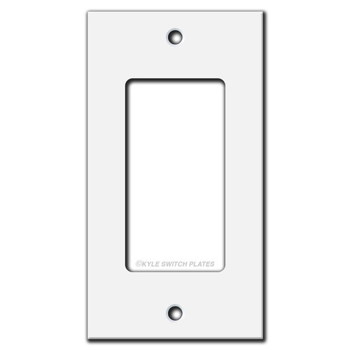 "Flat Short Narrow Decor Rocker Wall Plate Cover 4"" X 2.12"" - White"