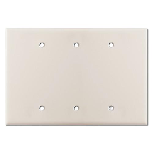Jumbo 3 Blank Electrical Switch Wall Plate - Light Almond
