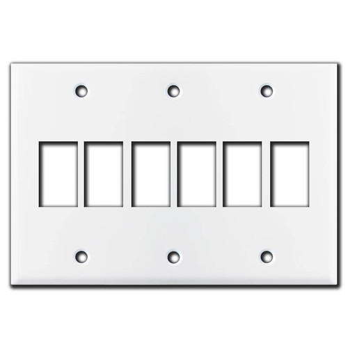 New Style 6 Switch GE Low Voltage Wall Plate Covers - White