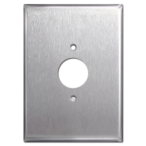 "Extra Oversized 6.38"" Single Outlet Cover - Stainless Steel"