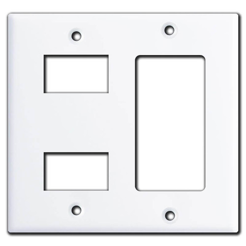 Decora + GE New Style 2-Stacked Switch Low Voltage Cover - White