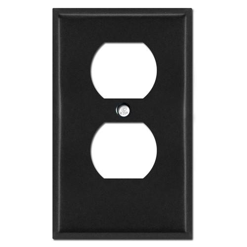 """Half Short .25"""" Trimmed Duplex Outlet Faceplate - Black"""