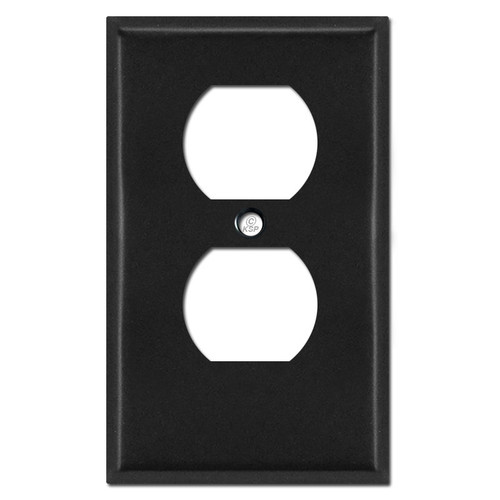 "Half Short .25"" Trimmed Duplex Outlet Faceplate - Black"