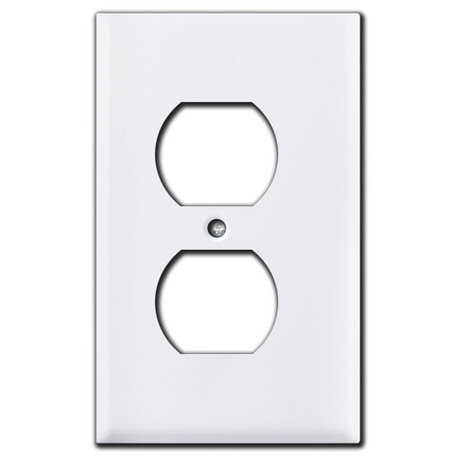 "Half Narrow .25"" Trimmed Duplex Receptacle Covers - White"