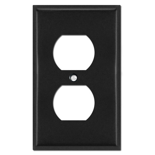 ".25"" Trimmed Skinny Duplex Receptacle Wall Plates - Black"