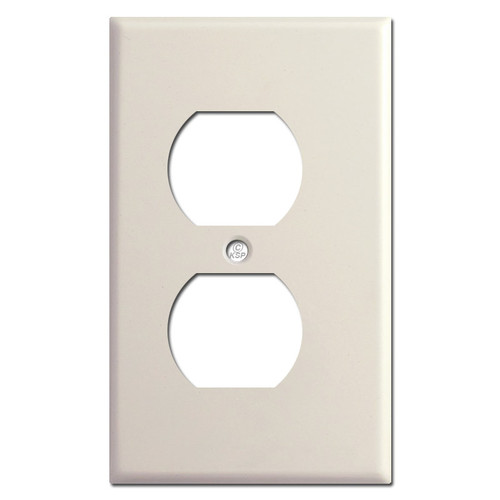 "Narrow 1/8"" Trim Duplex Outlet Plug Cover - Light Almond"