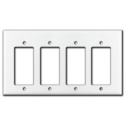 Short 4 Decor Rocker GFCI Wall Plate - White