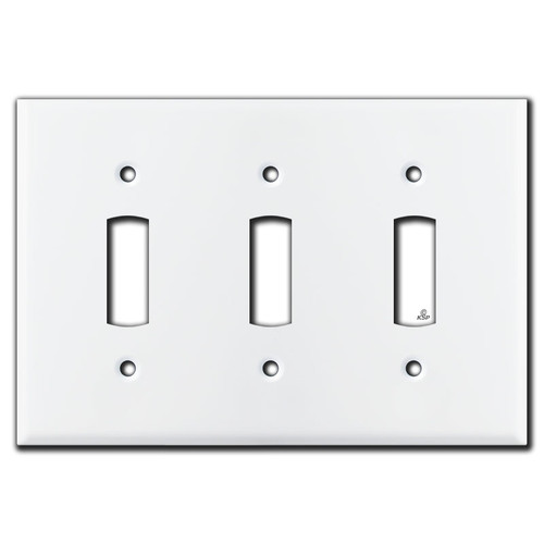 Mid-Century Fatter Toggle 3 Switch Electrical Wall Plate - White